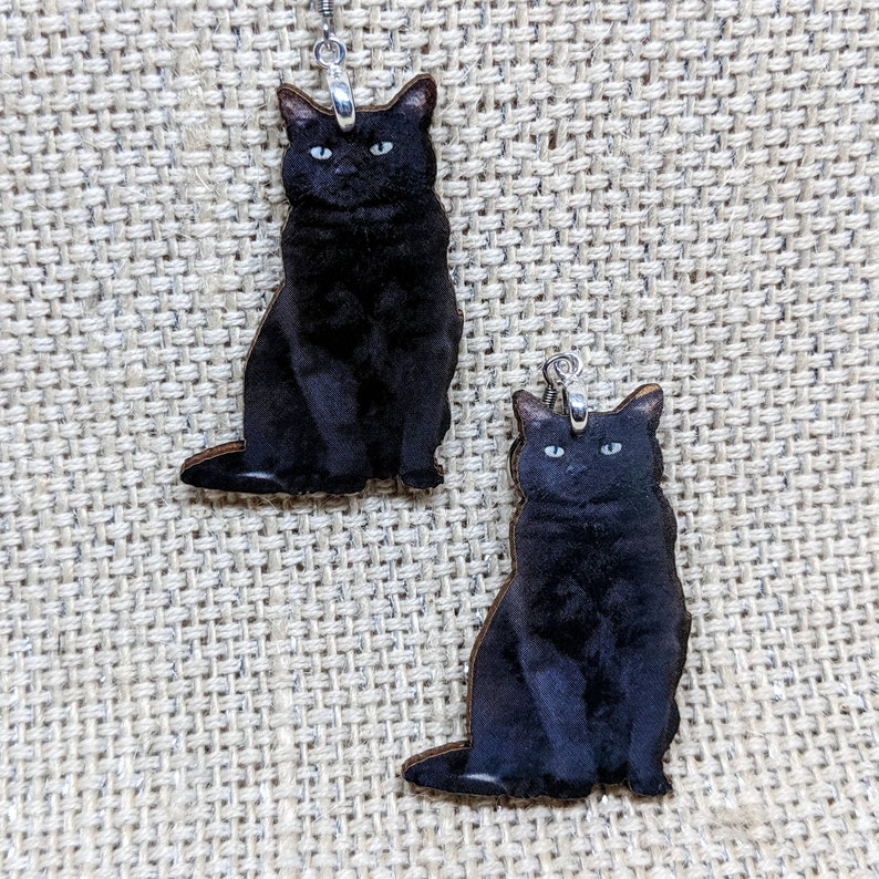 Black Cat Earrings / Kitty Earrings / Cat Gift / Halloween image 0