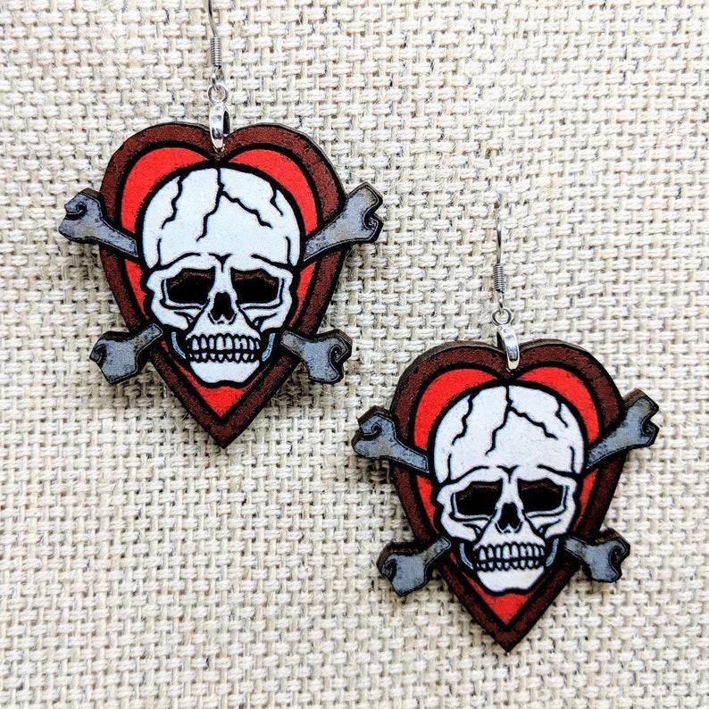 Skull and Crossbones Earrings / Vintage Tattoo Skull / image 0