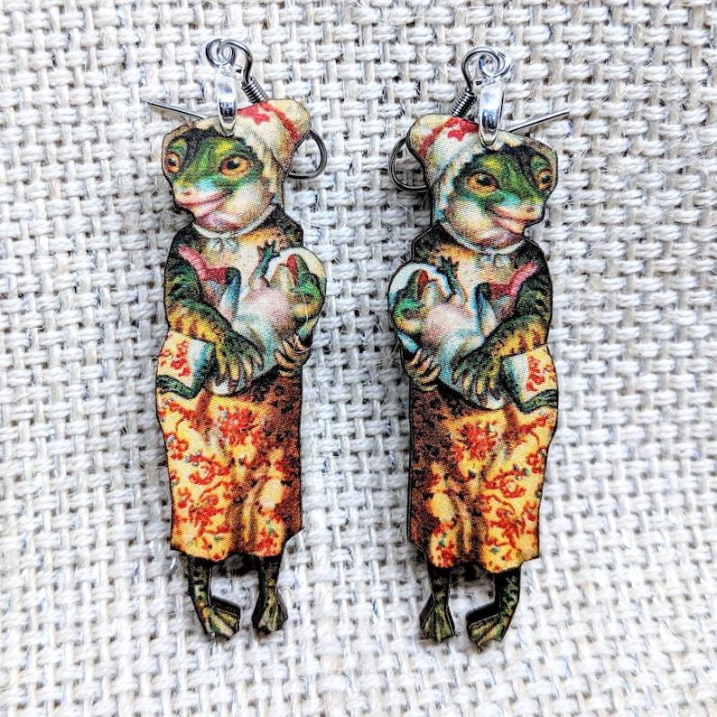 Alligator Earrings / Alligator Mom Earrings / Laser Cut Wood image 0