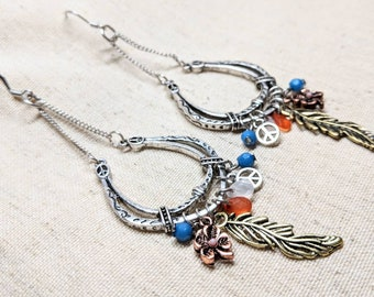 Silver Horseshoe Earrings / Long Dangle Earrings / Good Luck Earrings / Feather Earrings / Collage Earrings / Stainless Steel Hypoallergenic