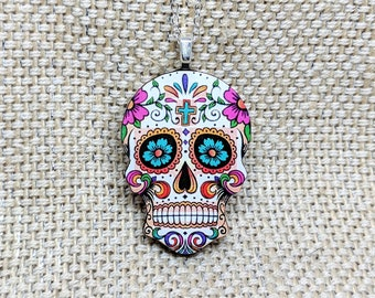 Sugar Skull Pendant / Sugar Skull Necklace / Day of the Dead Necklace / Skull Jewelry / Halloween Necklace / Laser Cut Wood Jewelry