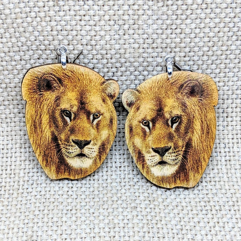Lion Earrings / Animal Earrings / Lion Jewelry / Animal image 0