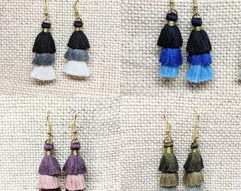 Tassel Earrings / Tri Color Tassel / Handmade Earrings / Handmade Jewelry / Colorful Earrings / Fabric Tassel / Fringe Earrings