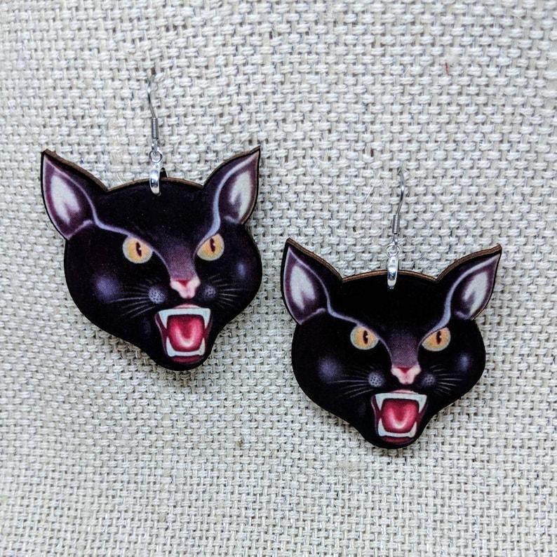 Black Cat Earrings / Laser Cut Wood Earrings / Lucky Cat image 0