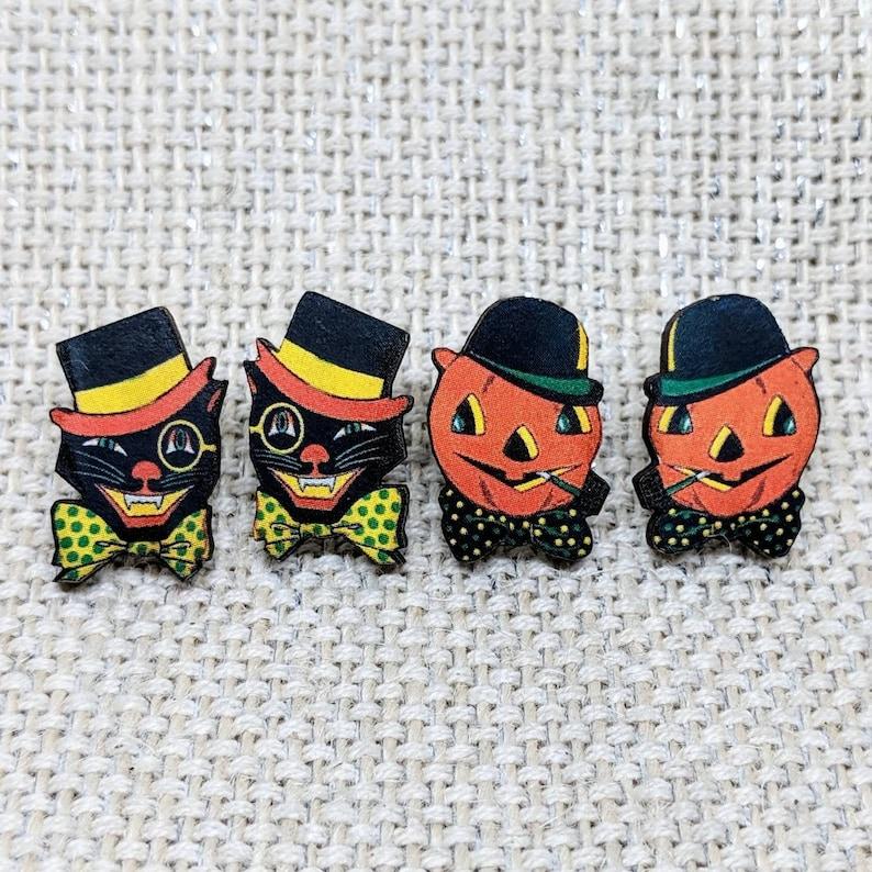 Black Cat Earrings / TWO PACK Halloween Cat and Pumpkin image 0