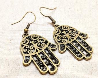 Hamsa Hand Earrings / Yoga Earrings / Yoga Jewelry / Hamsa Earrings / Good Vibes Earrings / Protection Earrings / Good Luck / Positivity