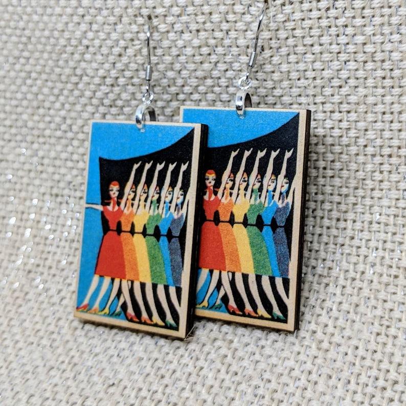 Pride Earrings  Rainbow Ladies  Vintage Russian Matchbook Cover  Wood Earrings  Vintage Art Earrings  Pop Art  LGBT Pride