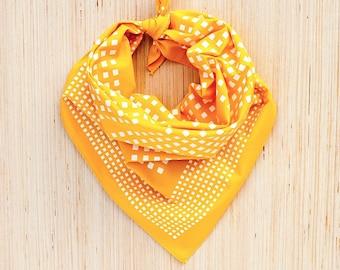 Bandanas for Women, Checked Print, Mens Bandana, Geometric Print Scarf, Travel Accessory,  Golden Yellow Scarf, Neckerchief, Made in USA