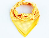 Bandanas for Women, Checked Print, Mens Bandana, Geometric Print Scarf, Travel Accessory,  Golden Yellow Scarf, Neckerchief, Made in USA