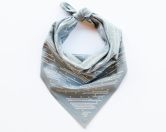 Gray Bandana, Grey Cotton Scarf, Shooting Star Design, Stripe and Dot Scarf, Gift for Baker, Geometric Print, 100% Cotton, Made in USA,