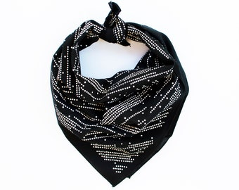 Black Bandana, Shooting Star Design, 100% Cotton Scarf, Stripe and Dot Scarf, Gift for Baker,  Made in USA, Hair Scarf, Practical Gift