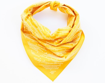 Golden Yellow Bandana, Cotton Scarf, Stripe and Dot Scarf, Gift for Baker, Geometric Print, 100% Cotton and Made in USA, Hair Scarf