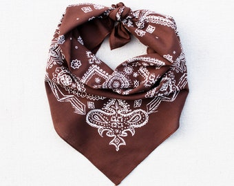 Brown Sketched Paisley Bandana, Hand Printed, 100% Cotton, Made in USA, Cotton Bandana for Women and Men, Useful Gift