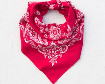 Red Sketched Paisley Bandana, Hand Printed, 100% Cotton, Made in USA, Cotton Bandana for Women and Men, Useful Gift