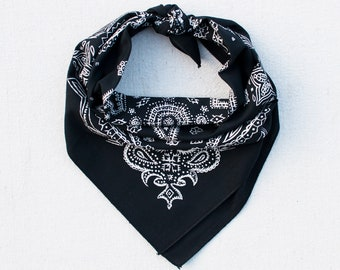 Black Sketched Paisley Bandana, Hand Printed, 100% Cotton, Made in USA, Cotton Bandana for Women and Men, Useful Gift