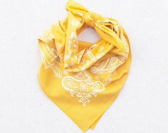 Golden Yellow Sketched Paisley Bandana, Hand Printed, 100% Cotton, Made in USA, Cotton Bandana for Women and Men, Useful Gift, Face Covering
