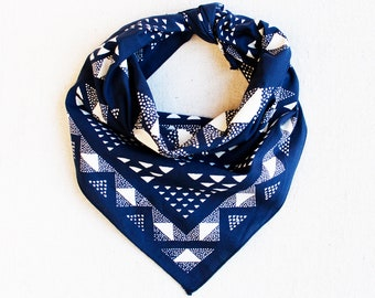 Blue Bandana, Made in USA, Geometric Scarf, Hand Printed, Hiking Gift, Bandanas for Women, Quilt Pattern, Useful Gift for Men
