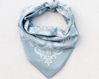 Grey Sketched Paisley Bandana, Hand Printed, 100% Cotton, Made in USA, Cotton Bandana for Women and Men, Useful Gift, Face Covering
