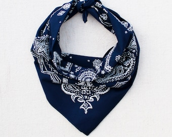 Navy Sketched Paisley Bandana, Hand Printed, 100% Cotton, Made in USA, Cotton Bandana for Women and Men, Useful Gift