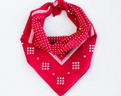 Red Polka Dot Bandana, Bandanna for Women, Made in USA, Hand Screen Printed, Cotton Neck Scarf, Red Kerchief, 100% Cotton