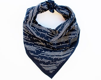 Navy Bandana, Shooting Star Design, Stripe and Dot Scarf, Gift for Baker, Geometric Print, 100% Cotton, Made in USA, Bandana for Men, Women