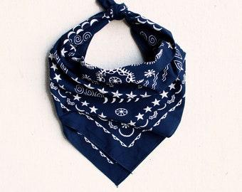 Hand Printed Bandana, Navy Blue, Elements Design, Gift for Gardener, Bandanas for Women, Bandanas for Men, Cotton Scarf, Made in USA