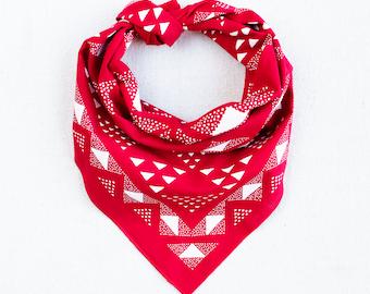 Hand Printed Bandana Gifts for Him Red Bandana Geometric Scarf Hiking Gift Bandanas for Women