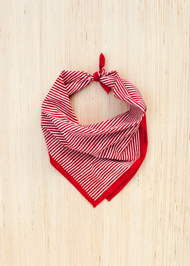 Red Bandana  Striped Scarf  Made in USA  Useful Gift  image 0