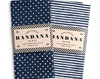 Bandana Set | Dot and Stripe Scarf | Red, Navy, Black and More | Chef Gift | Bandanas for Women | Bandanas for Men
