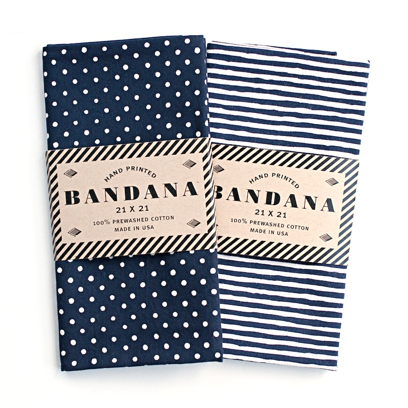 Bandana Set  Dot and Stripe Scarf  Red Navy Black and More image 0