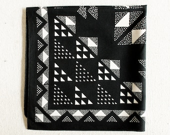 Black and White Bandana, Quilt Patterned Scarf, Geometric Print, Hand Printed Bandanna for Women and Men, Quilt Pattern