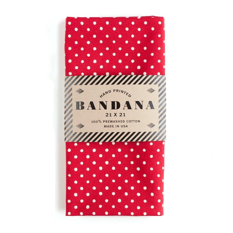 Bandana for Women  Red Polka Dot Bandana  Polka Dot Scarf  image 0