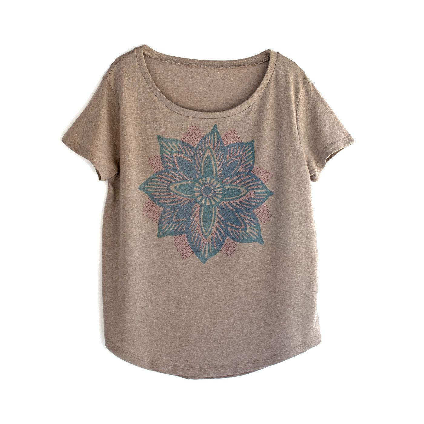Lotus Tee Yoga Shirt Lotus Flower Print Hand Printed Top Etsy
