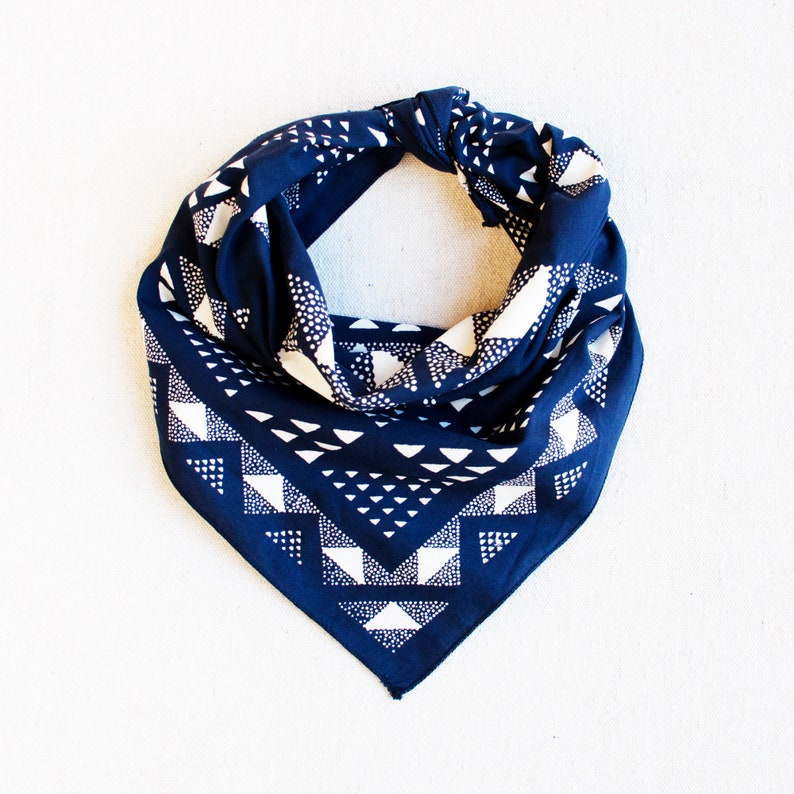 Blue Bandana Made in USA Geometric Scarf Hand Printed image 0