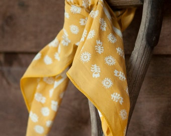 Bandanas for Women, Golden Yellow Bandana, Made in USA, Hand Printed Scarf, Floral Print Bandana, Gift for Gardener, Travel Accessory