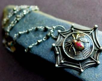 Spider Necklace, Gothic Halloween Necklace, Silver Spider Web Necklace, Artisan Sterling Silver Black Widow Arachnid Spider Jewelry