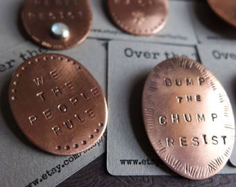 Copper Resist Pins, Anti-Trump Jewelry, Political Jewelry, Message Word Pins