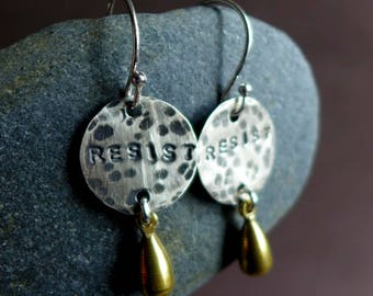 RESIST Earrings, Political Jewelry, Sterling Silver Brass Mixed Metal Stamped Word Anti-Trump Jewelry