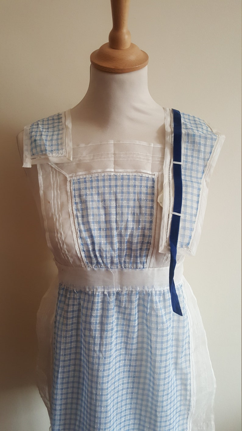 VINTAGE 1940s Selfridge London waitress uniform gingham check rayon deadstock