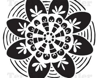 """Floral Mandala 6x6"""" Stencil"""