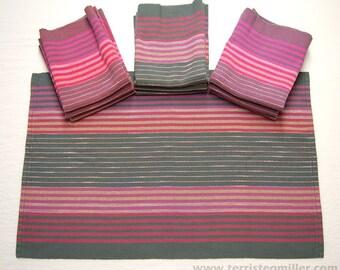 Handwoven Towels - Pink/Purple/Gray Towels