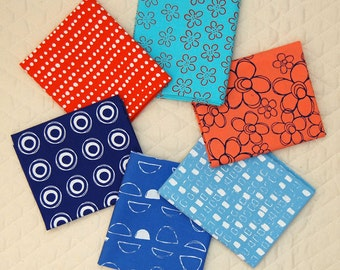Hand Printed Fabric Fat Quarter Bundle - 6 Colors Blue/Orange Collection