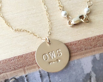 Gold Monogram Necklace, Three Initials Necklace, Arrow Necklace, Friendship Necklace, Personalized Jewelry, Gift for MOM, Best Friend Gift