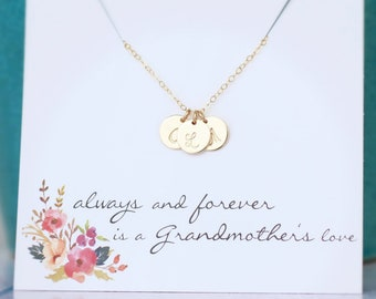 Grandma Necklace, Grandmother's Necklace, Grandma Birthday Gift, Gold Initials, Personalized Birthday Gift, Custom Initials, 14k gold fill