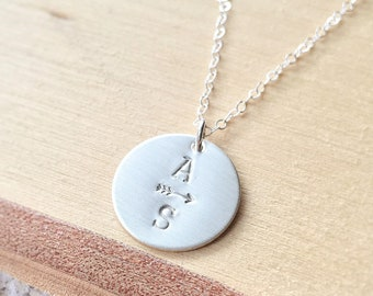 Two Initials Disc Necklace, Sterling Silver Initial Necklace, Two Letters, Arrow, Mothers Gift, Two Children Mom Valentines Day Gift for Mom