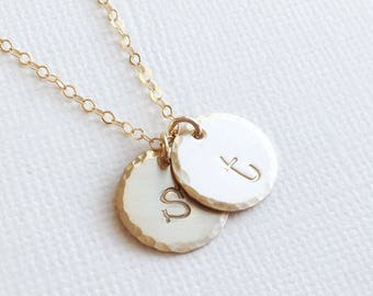 Mom Initial Necklace, Gift For Mom, Mom Birthday Gift, Children's Initials Two Children Personalized Gold Initial Necklace Lowercase Minimal