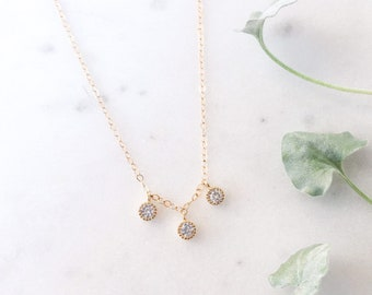 Past Present Future Necklace, Minimal Gold Necklace, Tiny dot necklace, Diamond Necklace, Three Stone Necklace, Cubic Zirconia 14k Gold fill