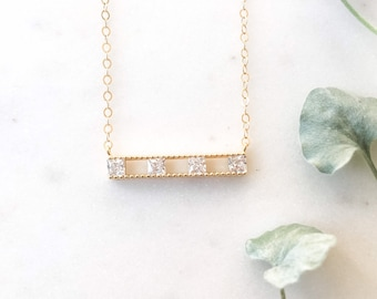 Family of Four Necklace, Four Generations, Grandmother Necklace, Four Children Necklace, Four Grandchildren, Diamond Bar Necklace, Gold Bar