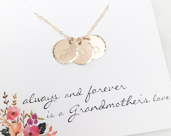Grandmother Initial Necklace, Gift For Grandma, Grandchildren Initial Necklace Birthday Gift for Grandma Minimal 14k Gold Fill Initial Discs