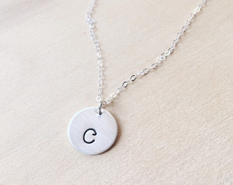Silver Initial Necklace, Gift For Mom, Children's Initials Two Children, Personalized Necklace, Personalized Valentines Day Gift, Lowercase